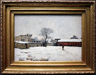 Sous la neige : cour de ferme à Marly-le-Roi