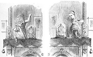 Through the Looking-Glass - Alice entering the Looking Glass. Illustration by Sir John Tenniel