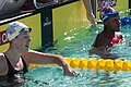 Allison Schmidt & Simone Manuel after 100m free (18968446081).jpg