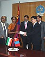 An Indian Mines delegation, led by the Secretary Mines, Smt. Santha Sheela Nair called on the Prime Minister of Mongolia, Mr. Batbold S. on June 07, 2010.jpg