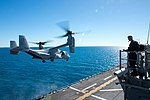 An MV-22B Osprey takes off from the flight deck of the amphibious assault ship USS Bonhomme Richard (LHD 6). (35262814743).jpg