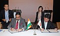 Anand Sharma and the Minister of Economy, Trade and Industry, Japan, Mr. Toshimitsu Motegi signing the Joint Statement on Japan-India Investment Promotion, during a meeting, in New Delhi on September 11, 2013.jpg