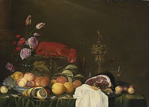 Andries Benedetti - Still life with a vase of roses and tulips, a ham on a pewter plate