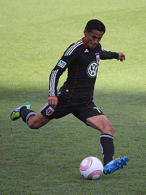 Andy Najar - Najar prepares to strike a ball during a regular season match at Columbus Crew Stadium on 2 October 2011, that ended in a 2-1 loss for United.
