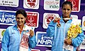 Ankita Raina (INDIA) won Gold Medal and Prerna Bhambri (INDIA) won Silver Medal in a Women's Singles Tennis match, at the 12th South Asian Games-2016, in Guwahati on February 10, 2016.jpg