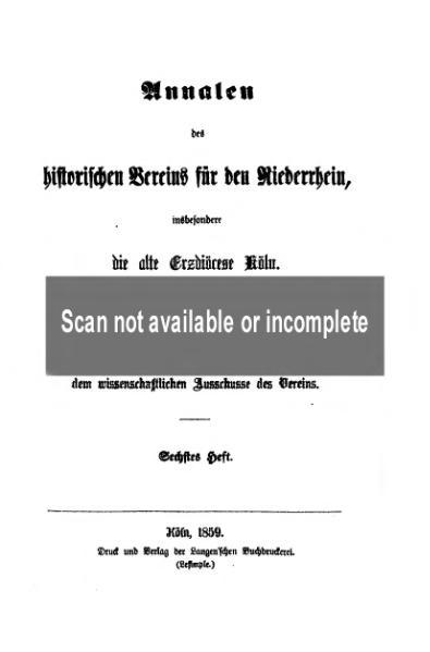 File:Annalen des Historischen Vereins für den Niederrhein 06 (1859).djvu