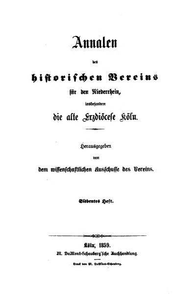 File:Annalen des Historischen Vereins für den Niederrhein 07 (1859).djvu