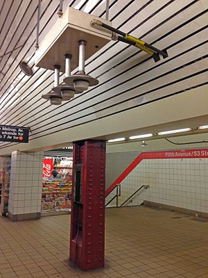 Distributed antenna system - DAS deployed by Transit Wireless in New York City Subway to provide WiFi, cellular voice and data coverage. The RF node with three antennas at the platform and another antenna near the stairs on the far side.