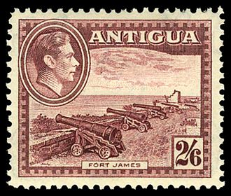 Fort James, Antigua and Barbuda - A 1942 stamp of Antigua showing Fort James.