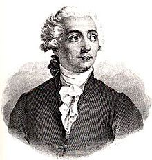 A drawing of a young man facing towards the viewer, but looking on the side. He wear a white curly wig, dark suit and white scarf.