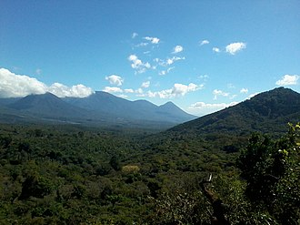 Volcano - Cordillera de Apaneca volcanic range in El Salvador. The country is home to 170 volcanoes, 23 which are active, including two calderas, one being a supervolcano. El Salvador has earned the epithets endearment La Tierra de Soberbios Volcanes, (The Land of Magnificent Volcanoes).