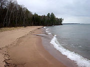 The shoreline of a beach in the Apostle Islands, Lake Superior