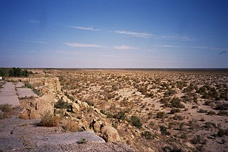 Aralkum Desert - The bed of the former Aral Sea in Uzbekistan in 2004