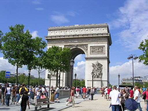 Arc de Triomphe from Avenue des Champs Elysees with trees