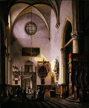 Vincenzo Abbati - Veduta del monumento sepolcrale a Paolo Savelli nella chiesa di Santa Maria Gloriosa dei Frari a Venezia, 1857 (Art collections of Fondazione Cariplo)
