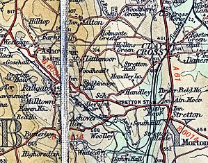 Ashover Light Railway - 1938 map showing the route of the railway from Clay Cross Works (top right) south and then northwest to Ashover. Station locations are marked but not named.