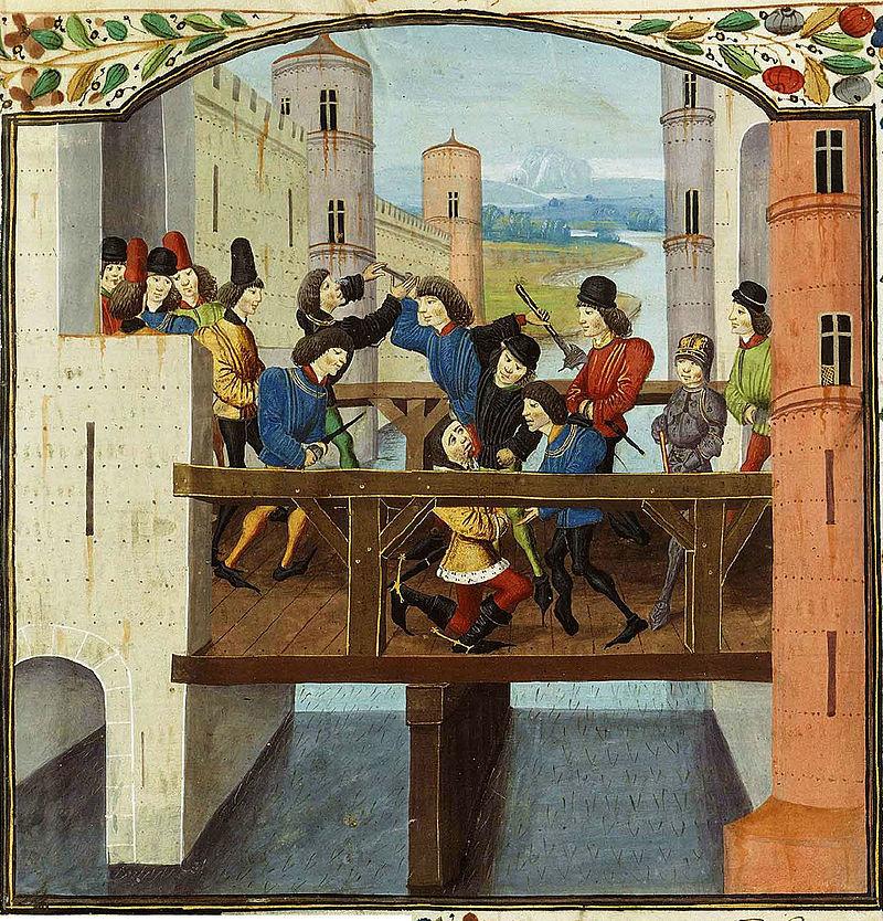Убийство герцога Бургундского Жана Бесстрашного. Миниатюра из хроники Монстреле. Изображение из Википедии