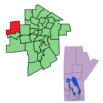 Assiniboia (provincial electoral district) - The 1999-2011 boundaries of Assiniboia highlighted in red.