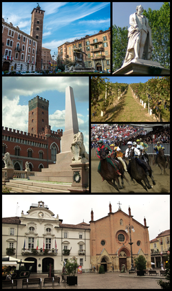 Top left: Piazza Medici (Medici Square) and Troyana Tower, Top right: A monument of Vittorio Alfieri in Piazza Alfieri (Alfieri Square), Middle left: Piazza Roma (Rome Square) and Comentina Tower, Middle upper right: vineyards in Mongardino, Middle lower right: Palio di Asti Festival on September, Bottom: town hall and San Secondo church