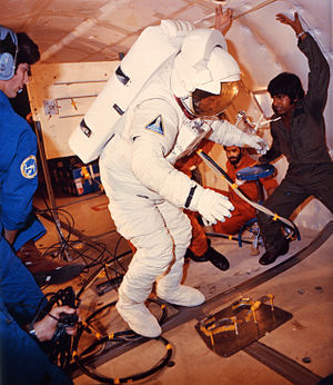 "C. Gordon Fullerton - Fullerton (in spacesuit) training aboard a KC-135 ""zero-gravity"" aircraft in 1981"
