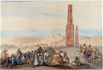Ghazni - A 19th-century artwork by James Atkinson showing Ghazni's citadel and two minarets, which were built by Bahram-Shah during the Ghaznavid era (963–1187)