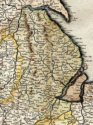 Robert Parsons (composer) - 1596 map of Lincolnshire, where both Parsons and Byrd lived and worked (Mercator)