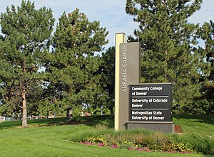 Auraria Campus - One of the Auraria Campus signs, located at the intersection of Kalamath and Colfax in Denver, Colorado