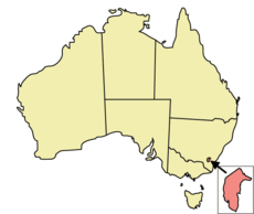 Map of Australia with the Australian Capital Territory highlighted