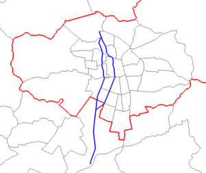 Autopista Central - Map of Autopista Central in blue, with communal borders in black and Santiago Province in red.
