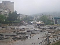 Autoroad in Vrangel was damaged by typhoon, Summer 2008.jpg
