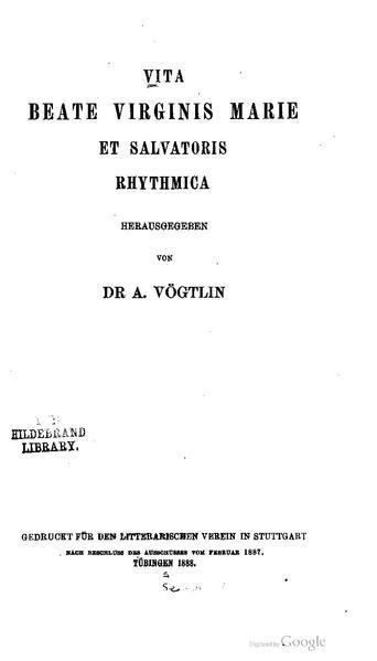 File:BLV 180 Vita beate virginis Marie et salvatoris rhythmica.pdf