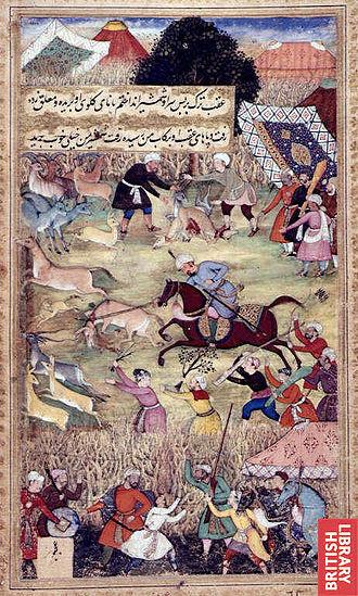Zarghun Shar, Paktika - Babur hunting on the plains of Kattavaz