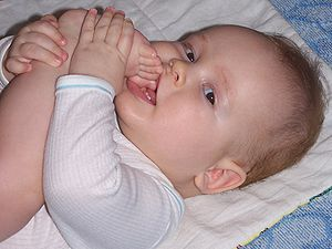 Body image - The mouth and taste are the first means of exploration of the body by a baby