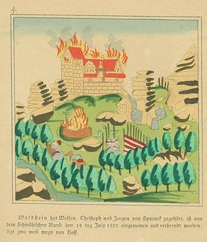 Waldsteinburg - Representation of the woodcut by Joseph Baader from the 19th century