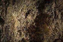 Photographie en couleurs d'une paroi rocheuse de teinte brune et à la surface altérée et érodée.