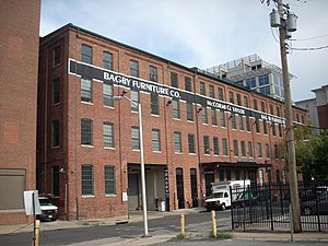 National Register of Historic Places listings in South and Southeast Baltimore - Image: Bagby Furniture Company Building, 509 S. Exeter St., Baltimore City, Maryland