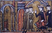Baldwin II ceeding the Temple of Salomon to Hugues de Payens and Gaudefroy de Saint-Homer.jpg