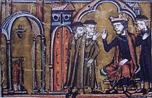 13th-century miniature of King Baldwin II granting the captured Al Aqsa Mosque to Hugues de Payens