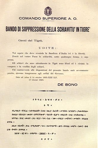 Second Italo-Ethiopian War - Italian notice, signed by general Emilio De Bono, proclaiming the abolishment of slavery in Tigray in Italian and Amharic. The abolition of slavery was one of the first measures taken by the Italian colonial government in Ethiopia.