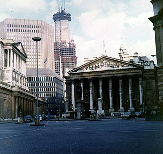 Tower 42 - In the background of this picture the NatWest Tower is seen under construction. View from Bank junction, c. 1974.