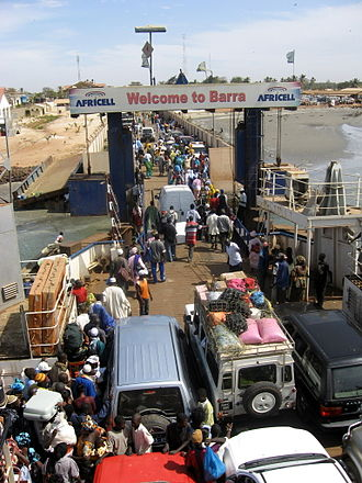 Barra, Gambia - Arriving at Barra by ferry