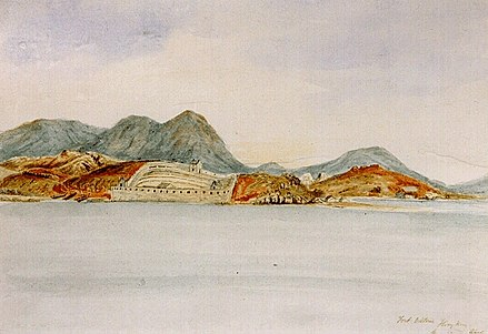 1841 painting of the Chinese fort at Kowloon. Barren Kowloon.jpg