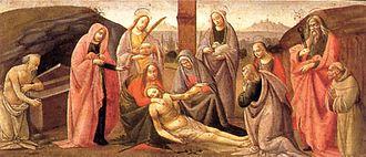 Adoration of the Magi (Ospedale degli Innocenti) - Deposition from the Cross (tempera on wood, 1488): one of the predella's scenes by Bartolomeo di Giovanni