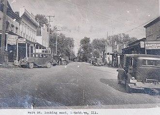 Batchtown, Illinois - Main Street Batchtown in the 1930s