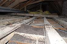 The picture shows bat droppings in a darkened attic