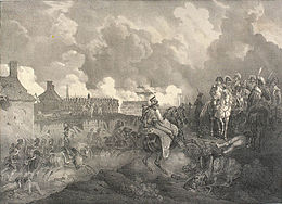 Napoleon on white horse receives a messenger