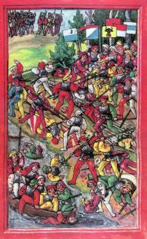 Swabian War - The battle of Hard was the first major battle of the Swabian War. Illustration from the Luzerner Schilling of 1513.