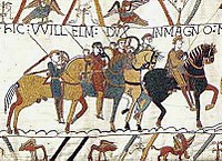 Horse riders wearing helmets and armor galloping through the midst of flying arrows.