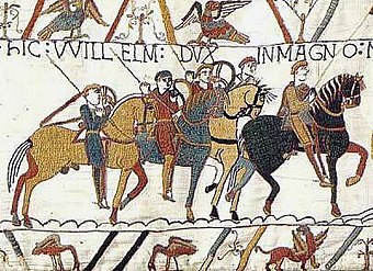 The Bayeux Tapestry depicting events leading to the Battle of Hastings in 1066 Bayeux Tapestry WillelmDux.jpg