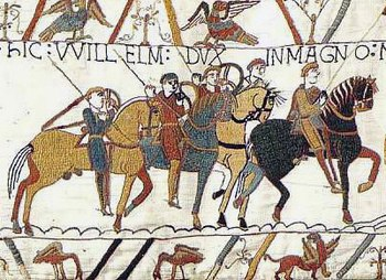 The Bayeux Tapestry depicts the Norman Conquest.